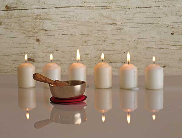 New Age Singing Bowl Relaxation Meditation Candles